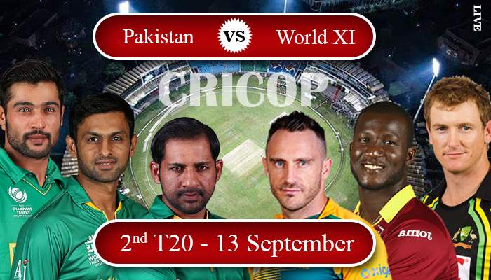 Today Match Prediction Pakistan Vs World XI 2nd T20 13 September 2017