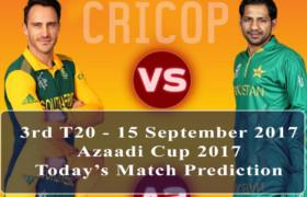 Today Match Prediction Pakistan Vs World XI 2nd T20 13 September 2017