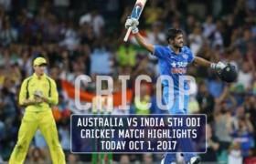 Australia vs India 5th ODI Cricket Match Highlights Today Oct 1, 2017